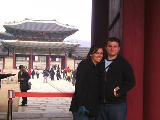 Joshua and Christina in front of the national palace in Seoul, South Korea.